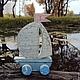 Парусник-каталка, деревянная игрушка ручной работы , декорированный