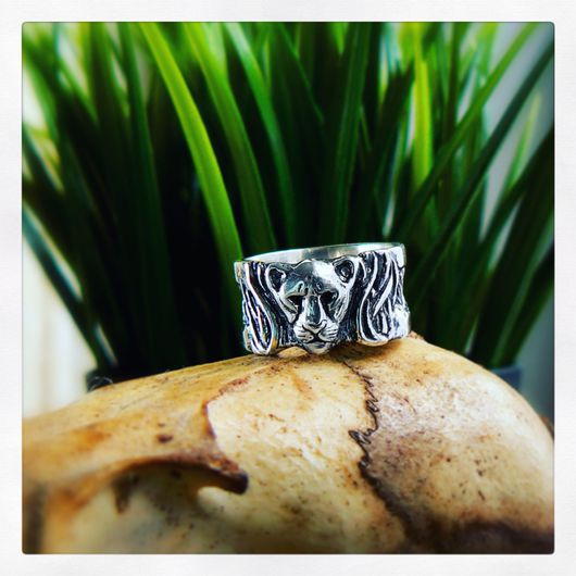 """Кольца ручной работы. Ярмарка Мастеров - ручная работа. Купить """"Львица"""" широкое кольцо. Handmade. Массивные кольца, Львица"""