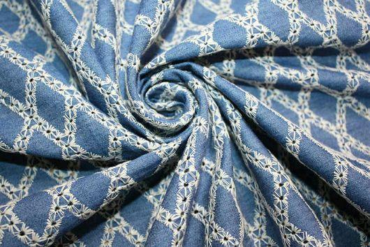 """Шитье ручной работы. Ярмарка Мастеров - ручная работа. Купить Джинс  вышивка """"Ромбы решилье"""" 2 цвета ткань Италия. Handmade."""