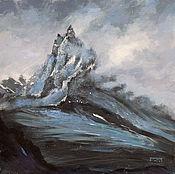 Картины и панно ручной работы. Ярмарка Мастеров - ручная работа картина акрилом Холодная гора (глубокий синий, черный, серый). Handmade.