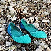 Обувь ручной работы handmade. Livemaster - original item ballet flats from python pointy toe mint turquoise. Handmade.