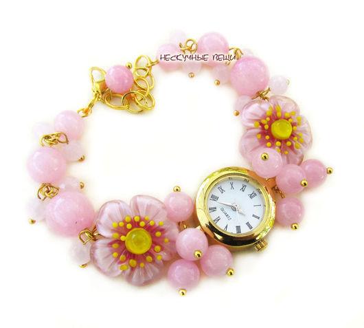 """Часы ручной работы. Ярмарка Мастеров - ручная работа. Купить """"Японская весна""""-2 наручные часы с бусинами лэмпворк. Handmade."""