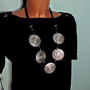 Украшения handmade. Livemaster - original item Necklace: stylish boho metal jewelry large necklace massive beads. Handmade.