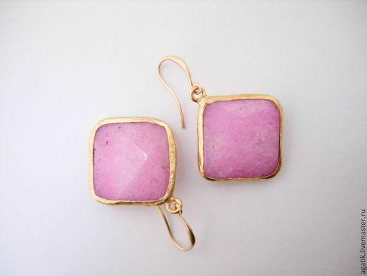 Серьги ручной работы. Ярмарка Мастеров - ручная работа. Купить - JADE Серьги розовые.. Handmade. Розовый, серьги с камнями, подарок