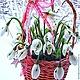 Новый год 2017 ручной работы. Корзина с подснежниками. полимерные цветы Perfect. Интернет-магазин Ярмарка Мастеров. Подснежники, подарок на рождество