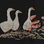 """Картины и панно ручной работы. Ярмарка Мастеров - ручная работа Вышитая картина """"Маки и гуси"""". Handmade."""