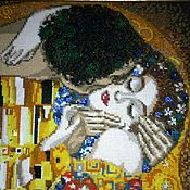 Картины и панно ручной работы. Ярмарка Мастеров - ручная работа Поцелуй. Вышивка по мотивам картины Густава Климта. Handmade.
