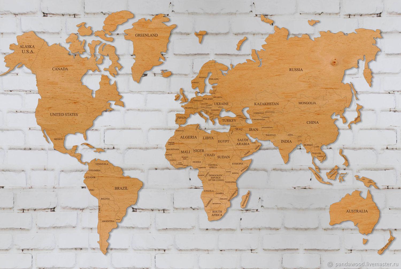 Персональные подарки ручной работы. Ярмарка Мастеров - ручная работа. Купить Карта мира без покрытия из фанеры 6 мм. Handmade.