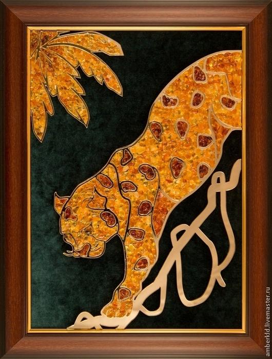 """Животные ручной работы. Ярмарка Мастеров - ручная работа. Купить Картина из янтаря """"Гепард"""". Handmade. Рыжий, янтарь натуральный, бархат"""