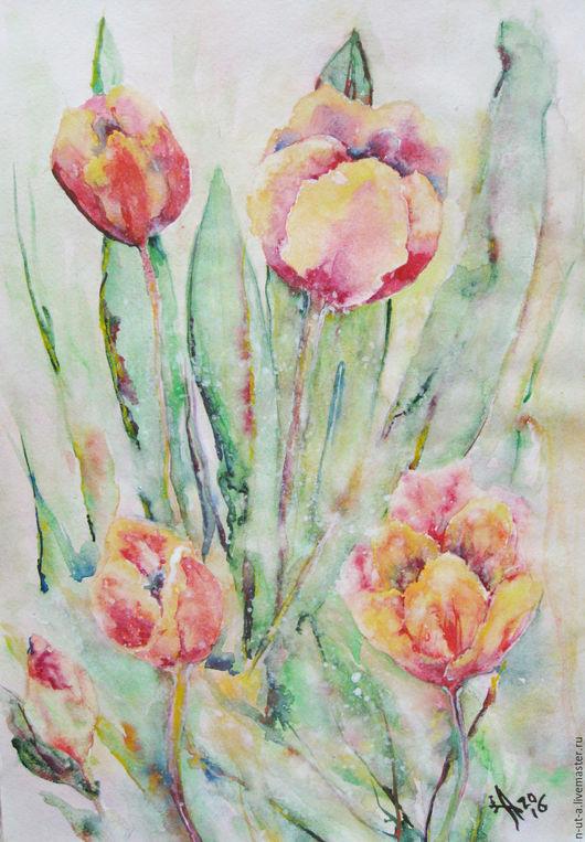 Картины цветов ручной работы. Ярмарка Мастеров - ручная работа. Купить Тюльпаны. Полдень. Картина акварелью. Handmade. Коралловый, тюльпан