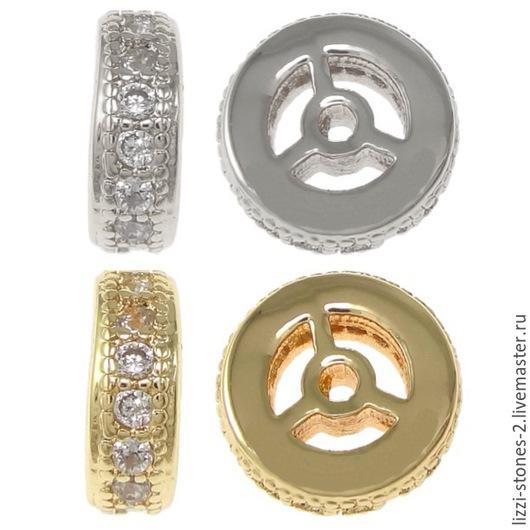 Бусина рондель золото и серебро 8 мм (Milano) Евгения (Lizzi-stones-2)