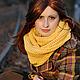 Шали, палантины ручной работы. Ярмарка Мастеров - ручная работа. Купить Желтый вязаный шарф-снуд Листопад Осенние листья. Handmade.