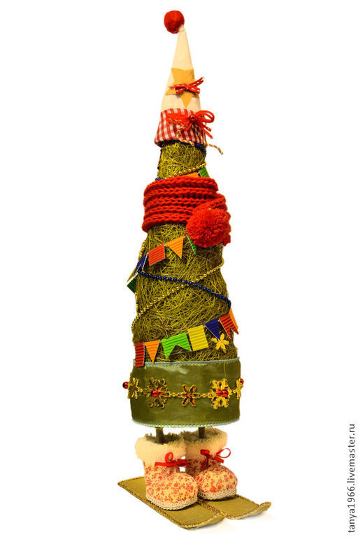 Новый год 2017 ручной работы. Ярмарка Мастеров - ручная работа. Купить Елочка новогодняя на лыжах. Handmade. Зеленый, новогодняя елка