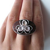 Украшения handmade. Livemaster - original item Ring with rosewood, rose quartz and CZ. 925 sterling silver st.. Handmade.