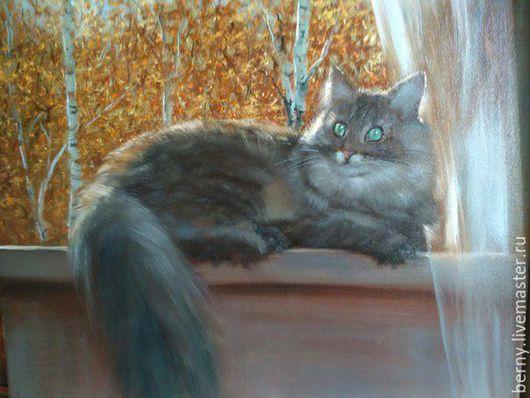 """Животные ручной работы. Ярмарка Мастеров - ручная работа. Купить Картина """"Мурзик"""". Handmade. Темно-серый, кошка, кот"""