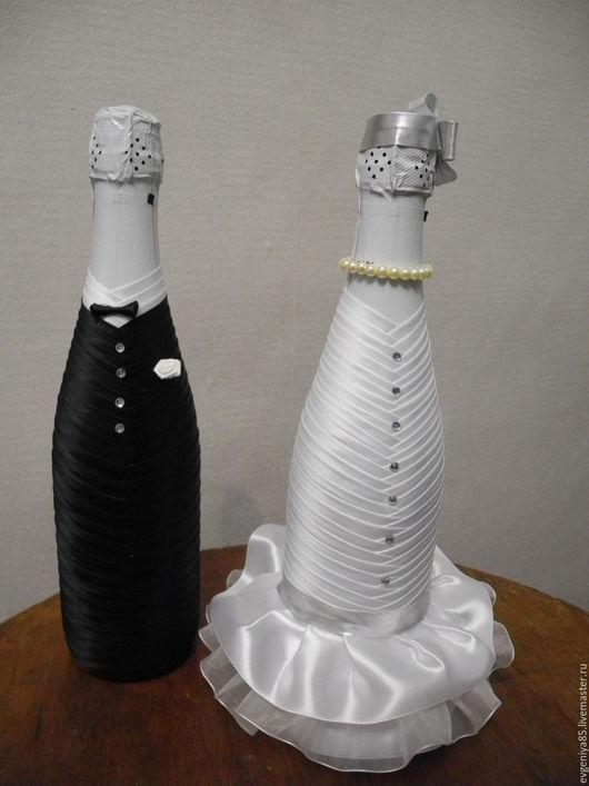 Свадебные аксессуары ручной работы. Ярмарка Мастеров - ручная работа. Купить Украшение свадебного шампанского. Handmade. Свадебное шампанское, белый