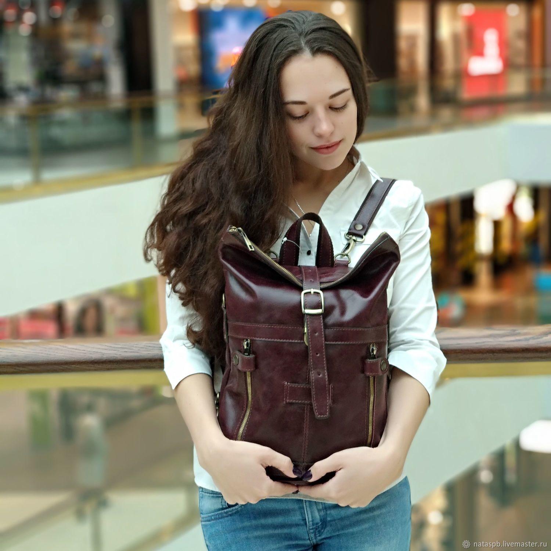 Women's leather Burgundy sidoni Fashion backpack bag. CP31-682, Backpacks, St. Petersburg,  Фото №1