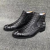 Обувь ручной работы handmade. Livemaster - original item Chelsea in relief alligator skin, in black.. Handmade.