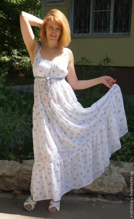 """Платья ручной работы. Ярмарка Мастеров - ручная работа. Купить Летний сарафан из марлевки """"Зебры"""". Handmade. Белый, белый сарафан"""