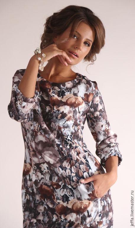 Платья ручной работы. Ярмарка Мастеров - ручная работа. Купить рр.52,54 Платье Цветочный микс арт.5371. Handmade.