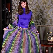 Одежда ручной работы. Ярмарка Мастеров - ручная работа Вязаная юбка длинная полосатая. Handmade.