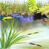Для дома и интерьера ручной работы. Ярмарка Мастеров - ручная работа Интерьерное подвесное украшение из цветного стекла птица Цапля. Handmade.