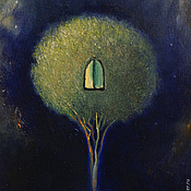 """Картины и панно ручной работы. Ярмарка Мастеров - ручная работа Картина маслом """"Ночная мистерия"""". Handmade."""