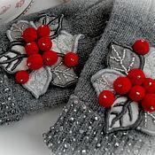 """Аксессуары ручной работы. Ярмарка Мастеров - ручная работа Зимние перчатки """"Клюква в сахаре"""". Handmade."""