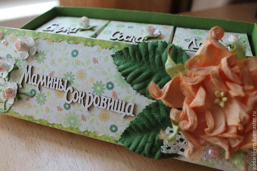 Подарки для новорожденных, ручной работы. Ярмарка Мастеров - ручная работа. Купить Мамины сокровища(2). Handmade. Зеленый, коробочка, мама и малыш
