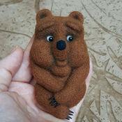 Мягкие игрушки ручной работы. Ярмарка Мастеров - ручная работа Медвежонок брошь. Handmade.