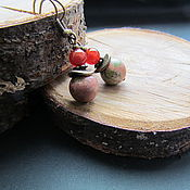 """Украшения ручной работы. Ярмарка Мастеров - ручная работа Серьги из унакита """"Краски осени"""". Handmade."""