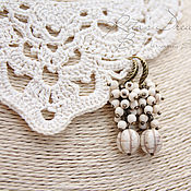 Украшения handmade. Livemaster - original item Earrings Delicate ivory, cream, ivory, earrings with stones. Handmade.