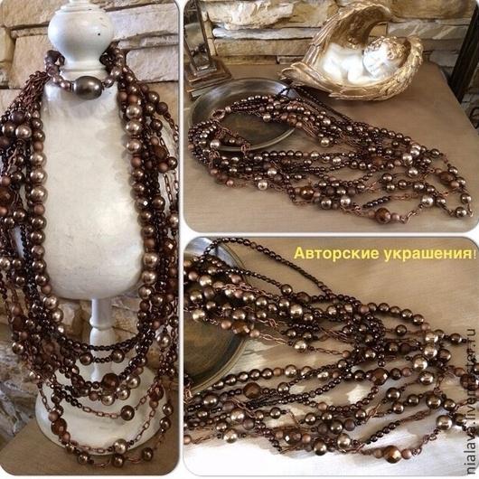 Авторские украшения из камней колье бусы дизайнера Светланы Молодых фото купить в интернете из натурального жемчуга Майорика