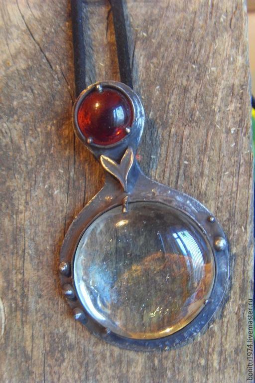 """Кулоны, подвески ручной работы. Ярмарка Мастеров - ручная работа. Купить Кулон """"Отражение"""". Handmade. Разноцветный, стекло, медь"""