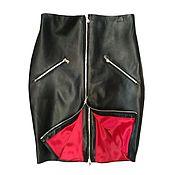 Одежда handmade. Livemaster - original item Leather Black Red Skirt 2 zippers. Handmade.