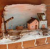 """Ключницы ручной работы. Ярмарка Мастеров - ручная работа Ключница """"Розовый рассвет"""" домики дрифтвуд. Handmade."""