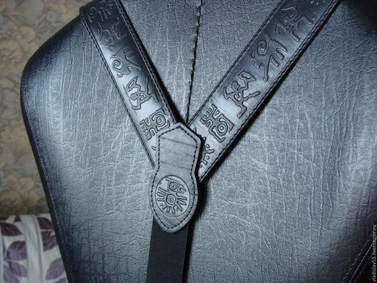 Комплекты аксессуаров ручной работы. Ярмарка Мастеров - ручная работа. Купить подтяжки кожаные. Handmade. Черный, подтяжки мужские
