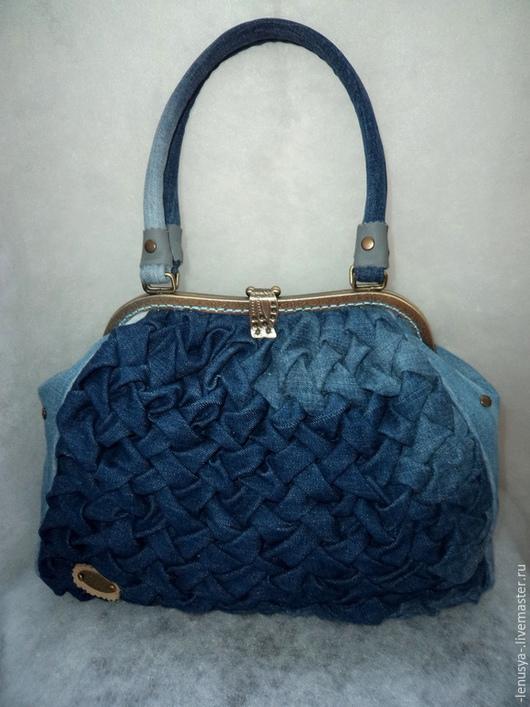 """Женские сумки ручной работы. Ярмарка Мастеров - ручная работа. Купить Джинсовая сумка """"ЖАКЛИН"""". Handmade. Синий, синяя сумка"""