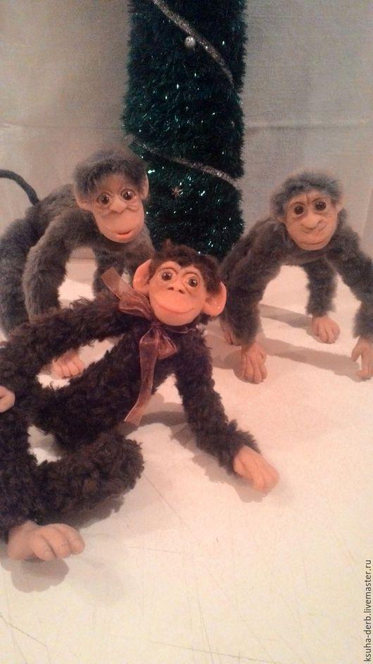 Игрушки животные, ручной работы. Ярмарка Мастеров - ручная работа. Купить Новогодние обезъянки. Handmade. Серый, обезьянка, ЛивингДолл