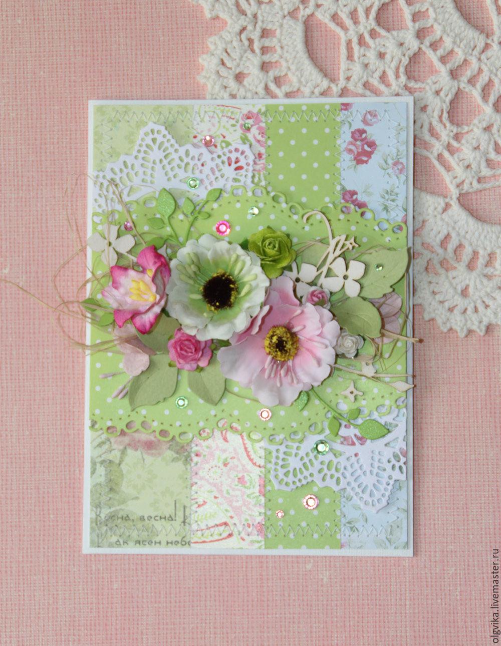 Днем, открытка скрапбукинг с цветами в горошек