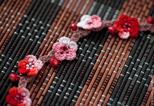 """Колье, бусы ручной работы. Ярмарка Мастеров - ручная работа. Купить Бусы-браслет """"Сакура"""" (хлопок, бисер, коралл). Handmade."""