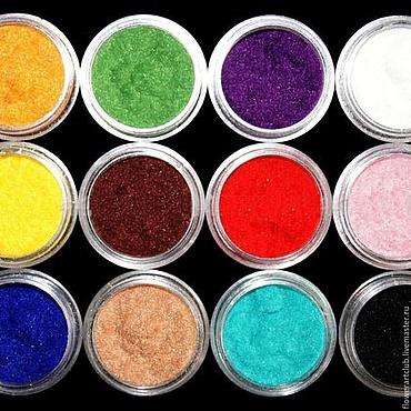 Материалы для творчества ручной работы. Ярмарка Мастеров - ручная работа Пудра флок - 12 цветов  - набор или отдельные цвета. Handmade.