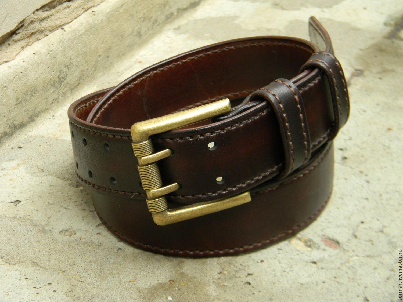 Men's belt,leather,handmade,for jeans, Straps, Kineshma,  Фото №1