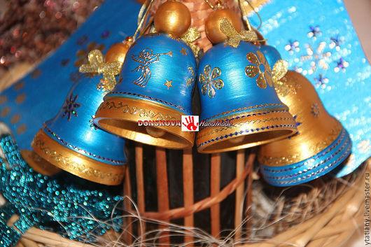 """Новый год 2017 ручной работы. Ярмарка Мастеров - ручная работа. Купить Колокольчики """"Blue&Gold"""". Handmade. Голубой, колокол, Новый Год"""
