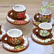 """Сувениры и подарки ручной работы. Ярмарка Мастеров - ручная работа """"Цветущий сад"""" - пряничные чашечки для кофе или чая. Handmade."""