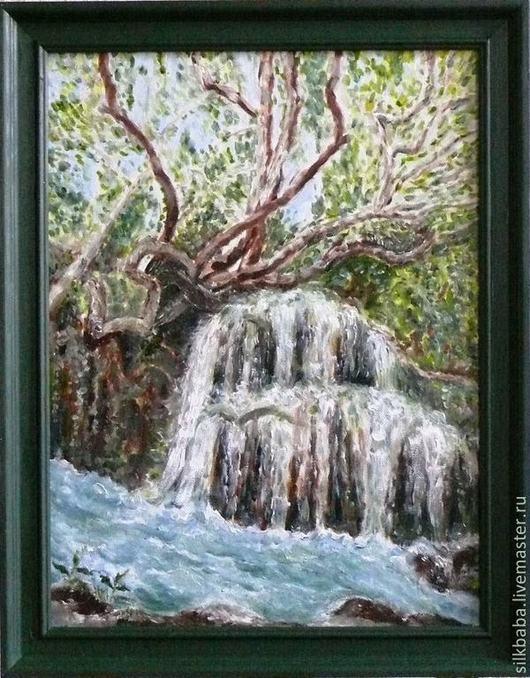 Пейзаж ручной работы. Ярмарка Мастеров - ручная работа. Купить Водопад. Handmade. Разноцветный, картина на холсте, подарок, холст на картоне