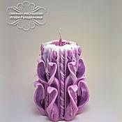 Сувениры и подарки ручной работы. Ярмарка Мастеров - ручная работа Резная свеча 17 см. - розовая. Handmade.