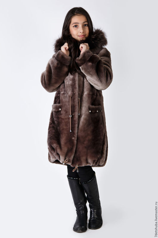 Верхняя одежда ручной работы. Ярмарка Мастеров - ручная работа. Купить Мутоновая шуба. Handmade. Коричневый, однотонный, шуба, пальто