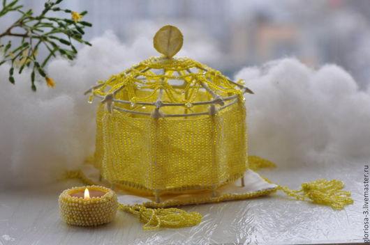 """Шкатулки ручной работы. Ярмарка Мастеров - ручная работа. Купить """"Лёд и пламень лимонного цвета"""". Handmade. Лед, пва, Замки"""