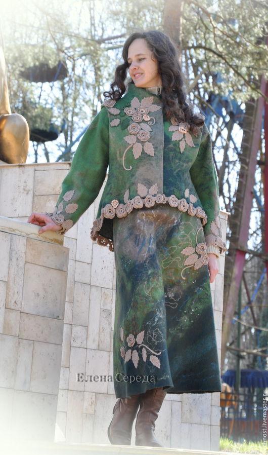 """Костюмы ручной работы. Ярмарка Мастеров - ручная работа. Купить Валяный костюм """"Марина"""". Handmade. Тёмно-зелёный, валяная юбка"""